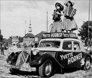 Yvette Horner sur le Tour de France en 1952 pour la marque Calor